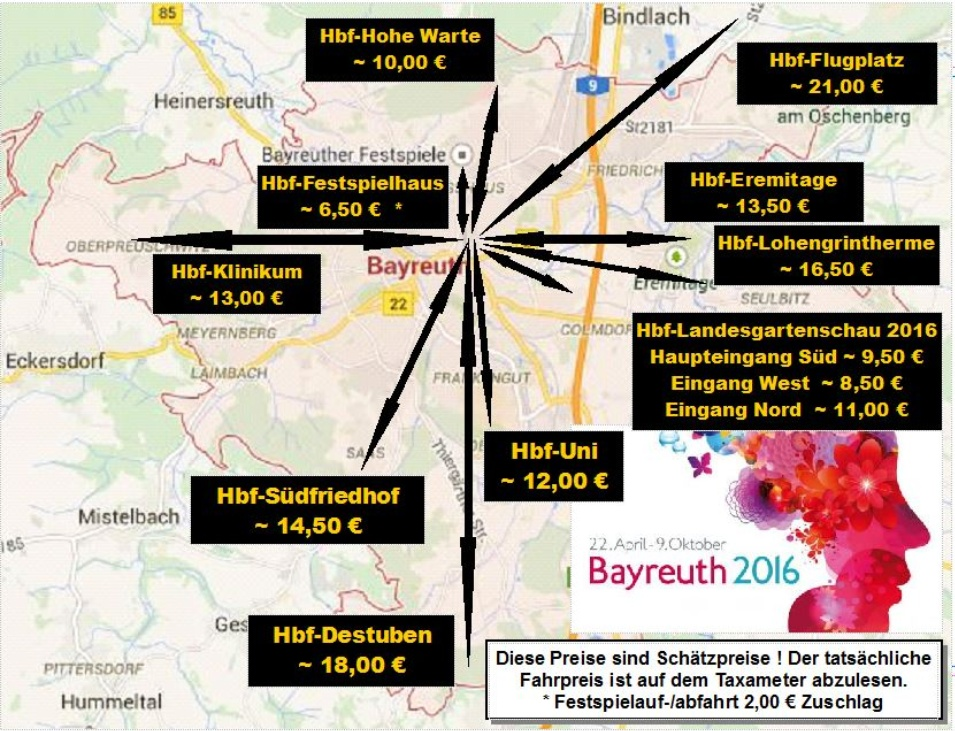 Bayreuth Stadt Taxipreise